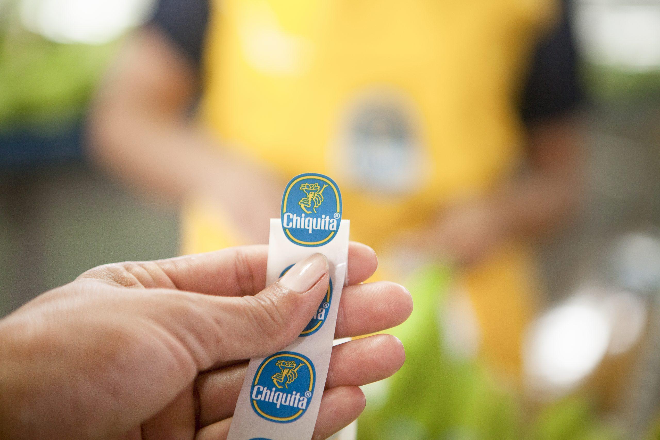 Autocollant Bleu de la marque de bananes Chiquita