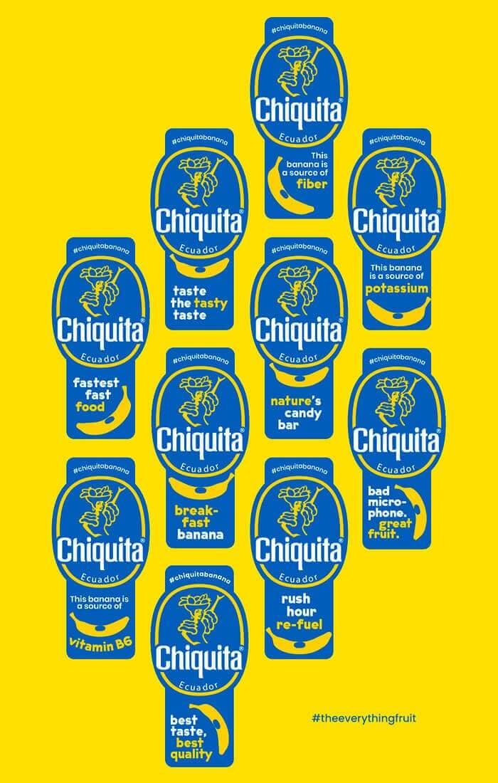 Banane Chiquita: carte d'autocollants «Le super fruit»